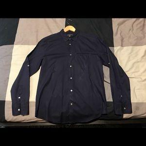 John Varvatos Button Up Shirt Navy Blue Small